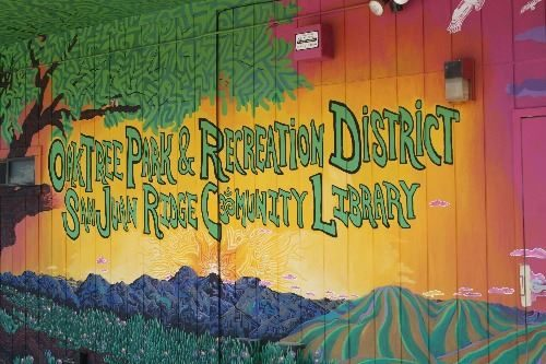 Library sign, painted wall mural