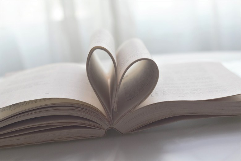 Book pages formed to make a heart shape